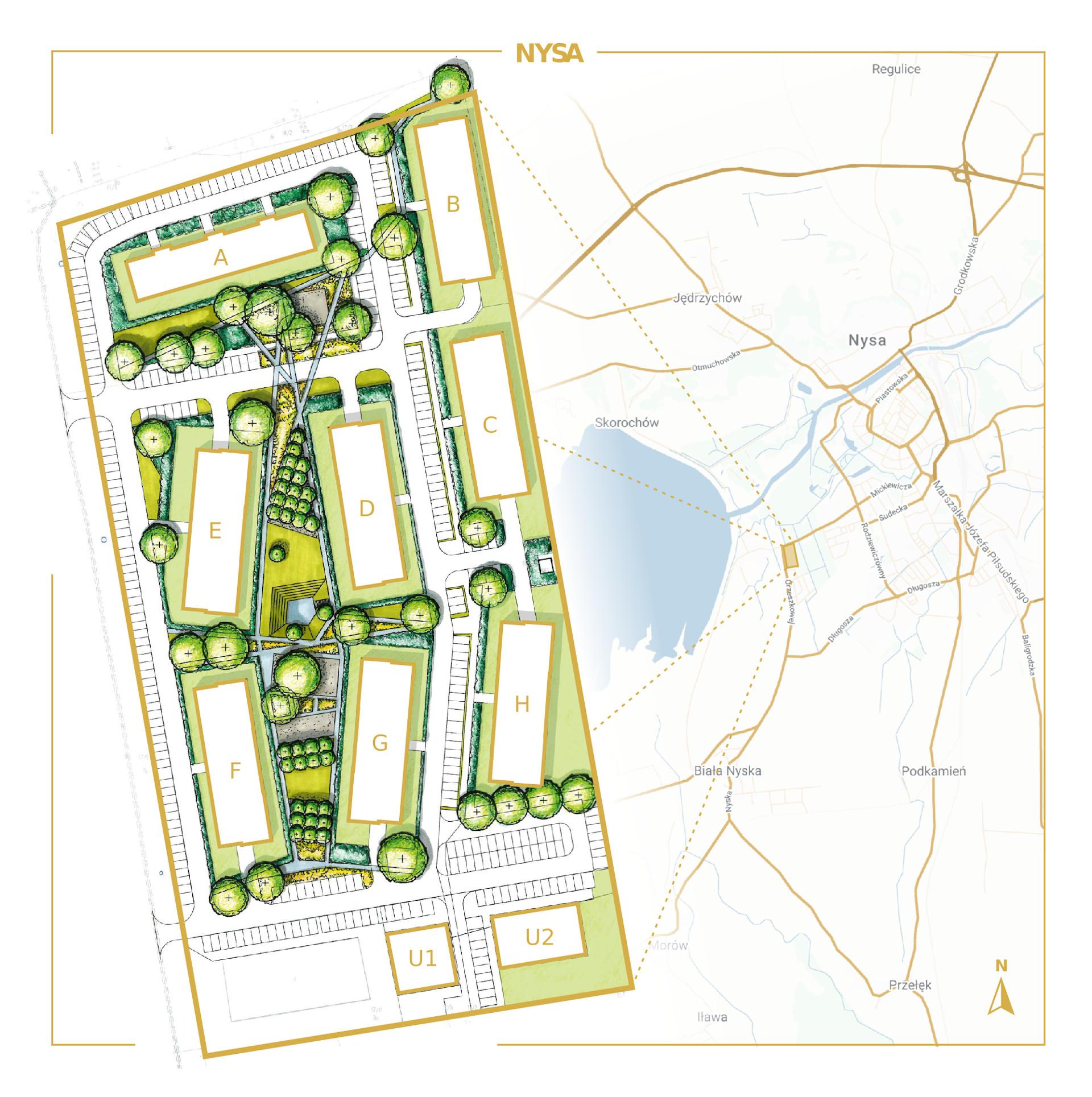 Belweder Park Nysa lokalizacja i zagospodarowanie terenu